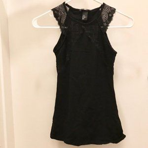 H&M Black Tank Top with Lace Trim